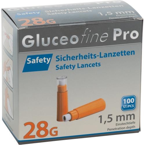 GLUCEOFINE Pro Safety Sich.-Lanzetten 28 Gx1,5 mm